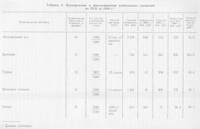 Планирование и финансирование капитальных вложений по РСО  за 1989 год