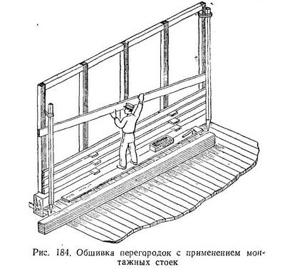 Обшивка перегородок с применением монтажных стоек