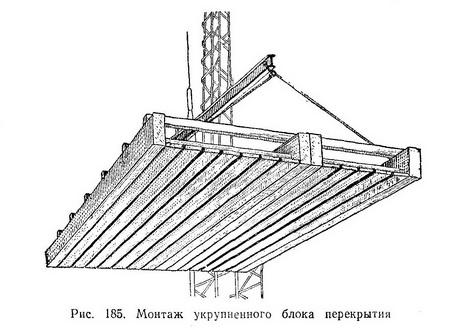 Монтаж укрупнённого блока перекрытий