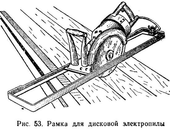Приспособление представляет собой рамку, по которой, как по направляющим, перемещается дисковая пила