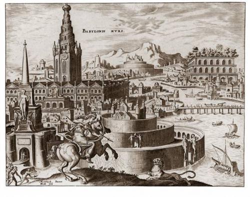 Иллюстрация мифических Висячих садов Вавилона, выполненная Мартеном ван Хемскерком (1498-1574), опубликована в 1572 году.